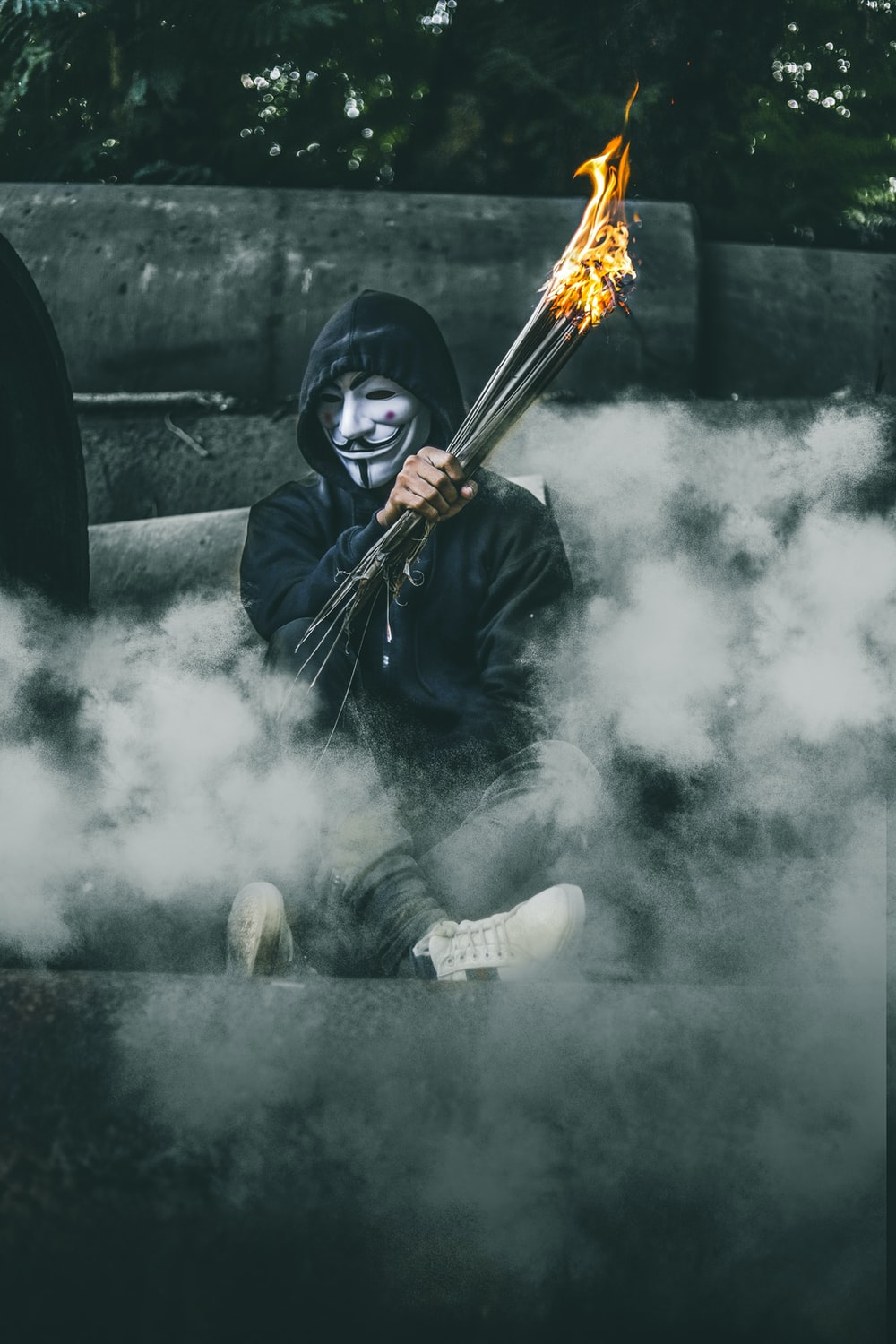 person wearing guy Fawkes's mask while holding torch