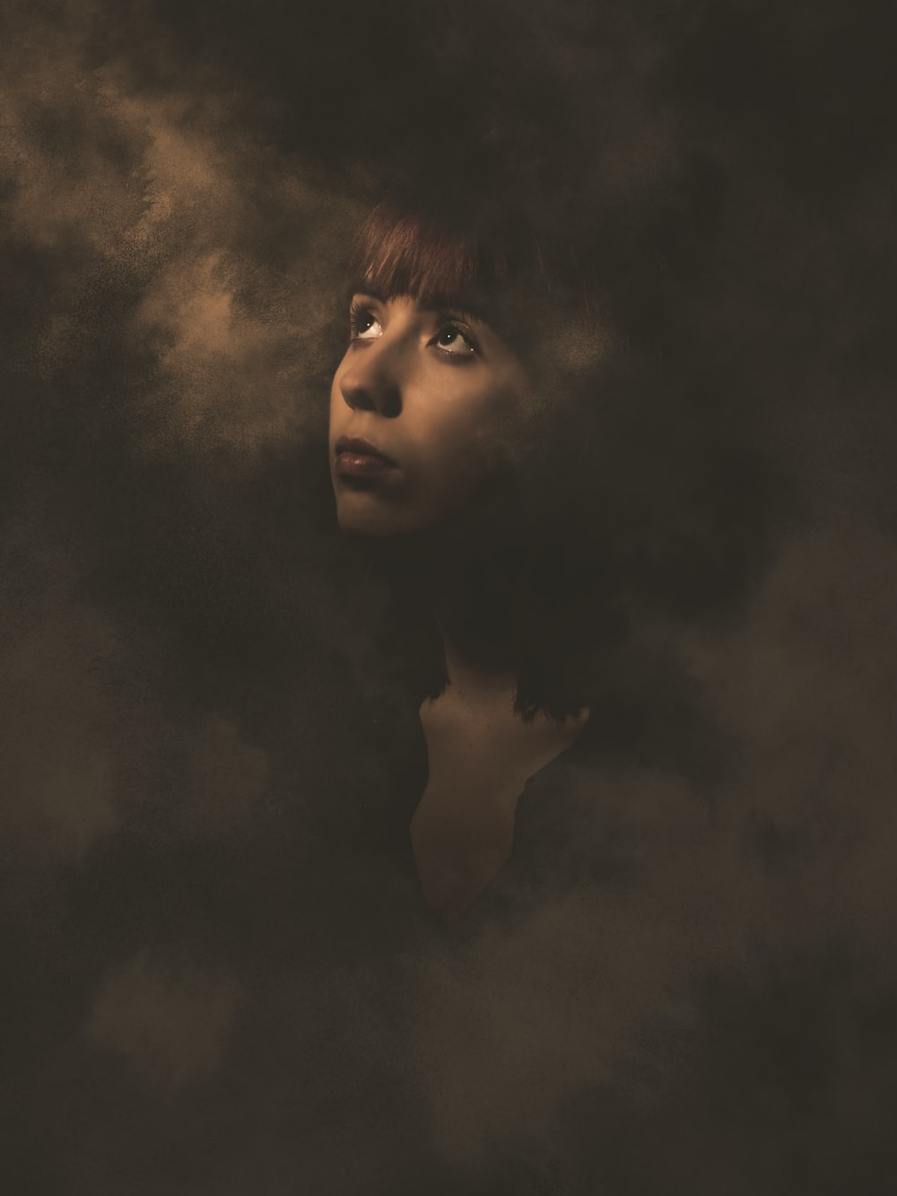woman surrounded by smoke illustration