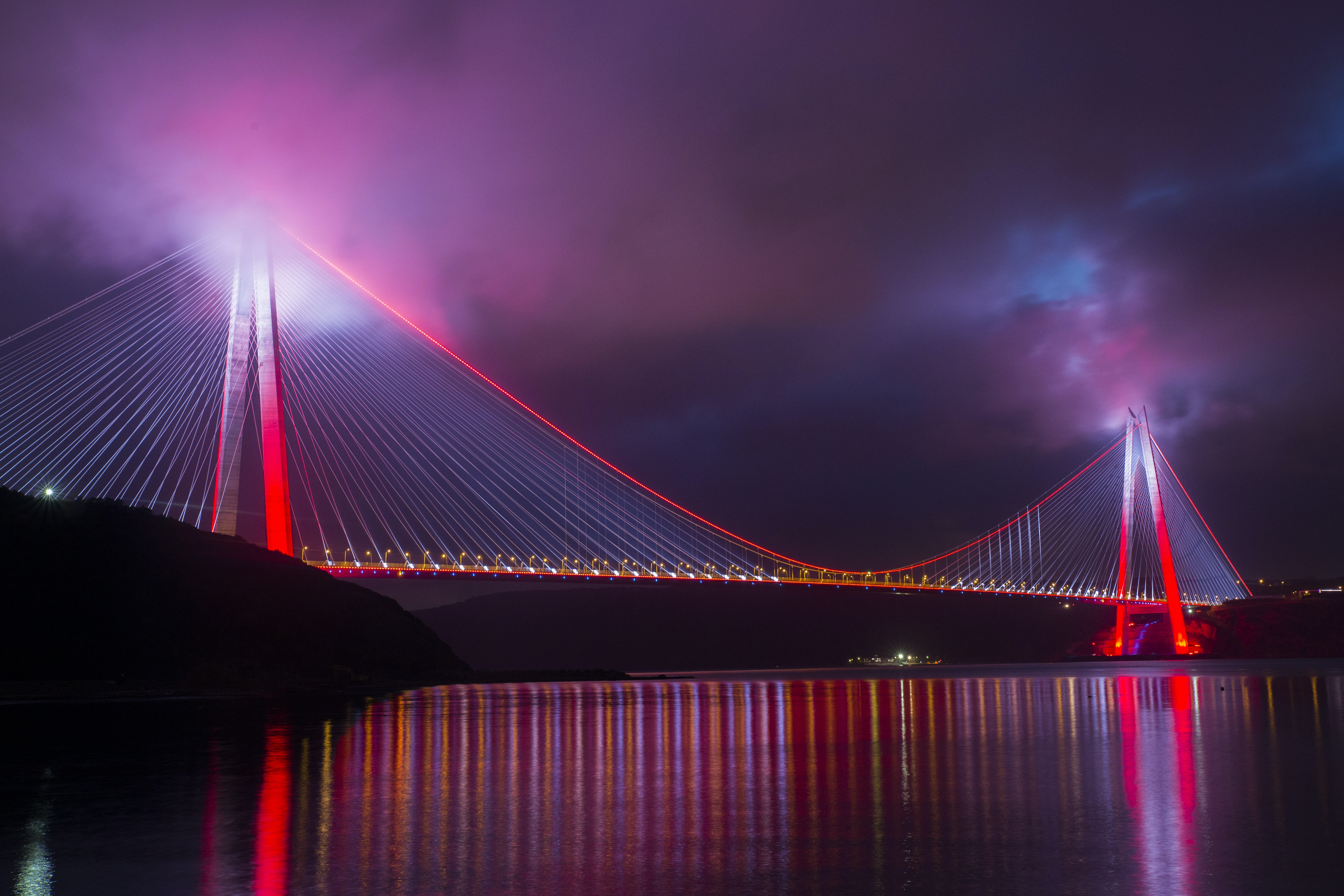 panoramic photography of red bridge over river