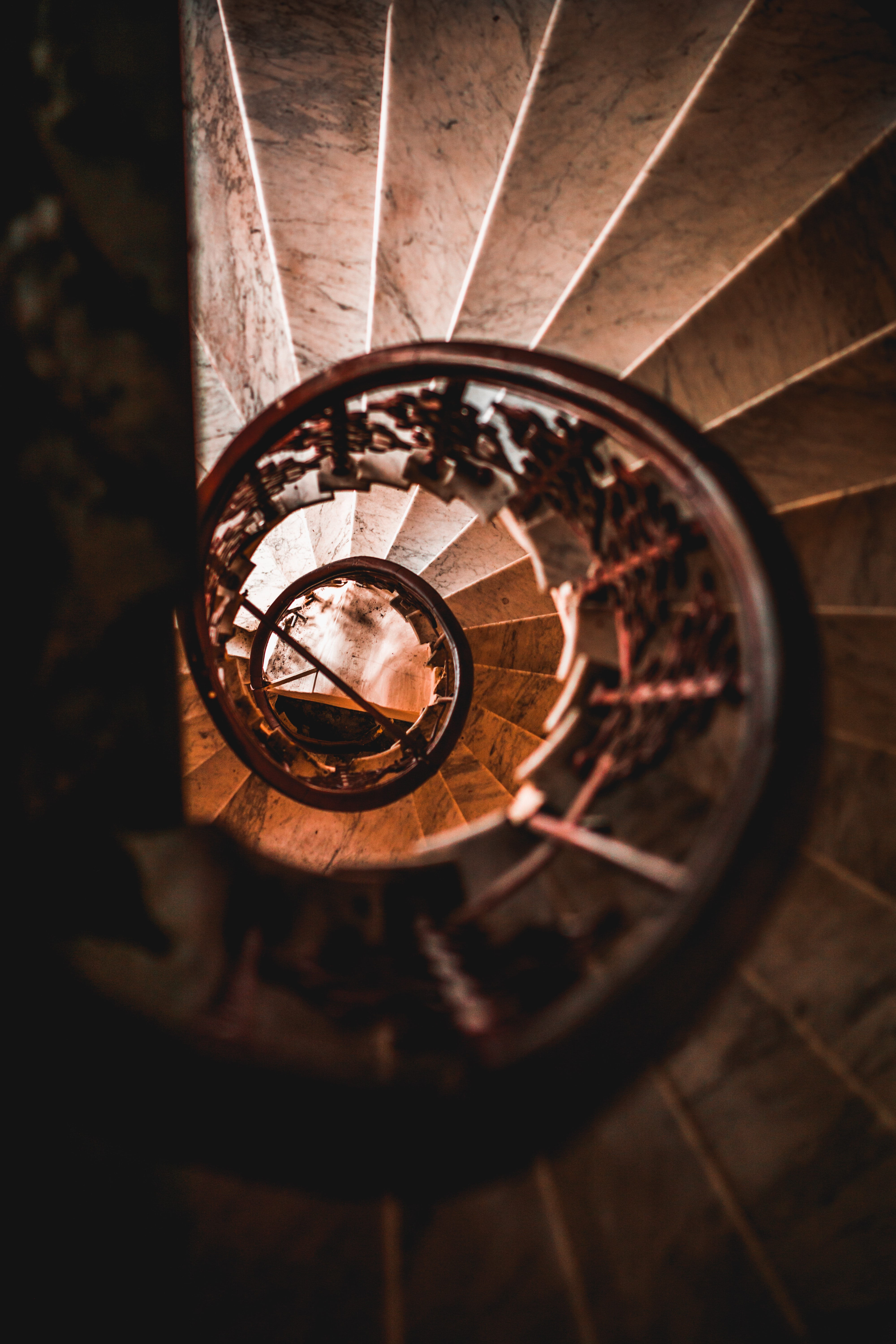 top view photography of spiral staircase