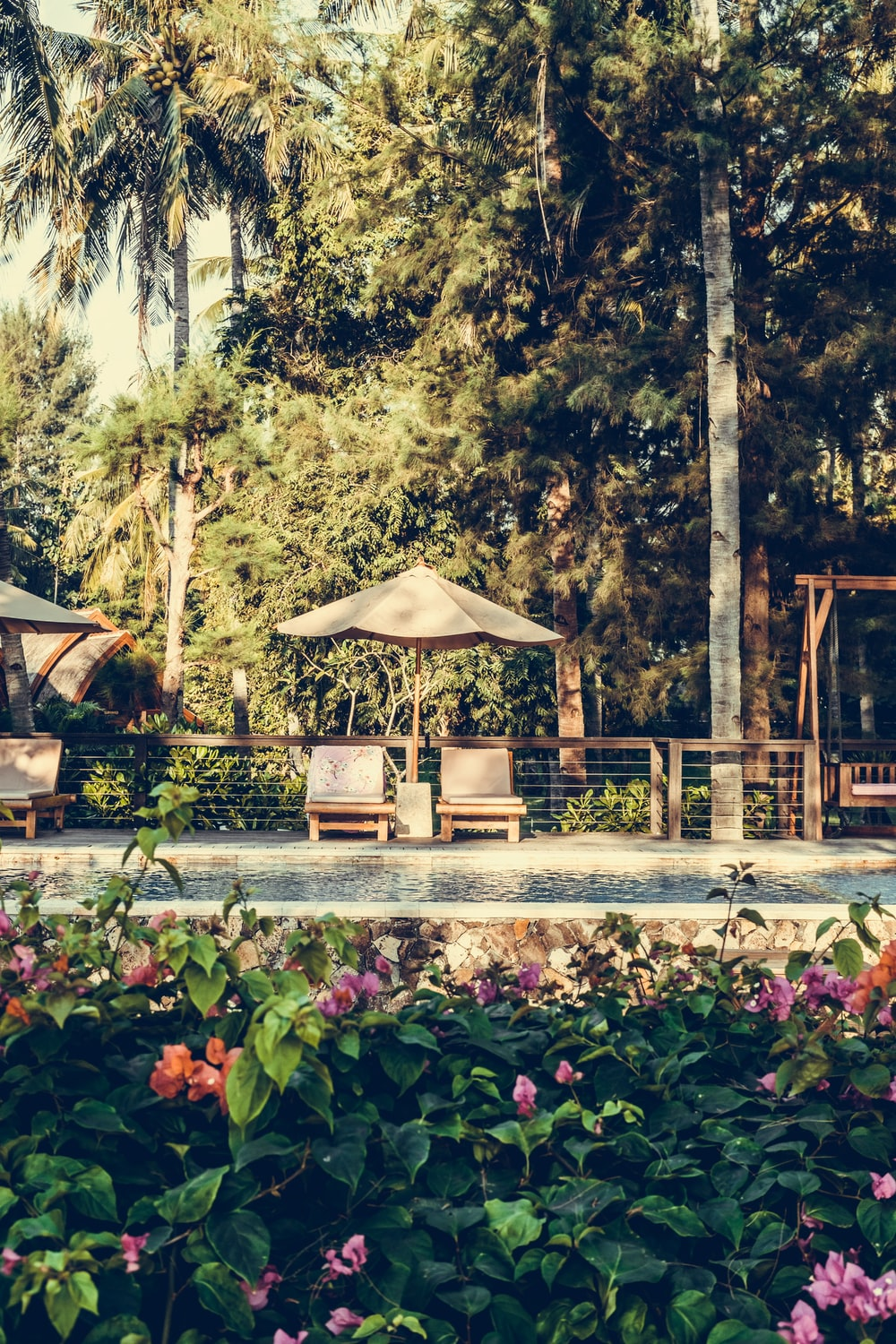 two brown wooden chairs near umbrella surrounded by trees