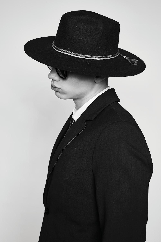 grayscale photo of person's blazer