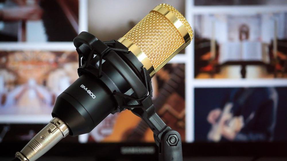 black and brass condenser microphone