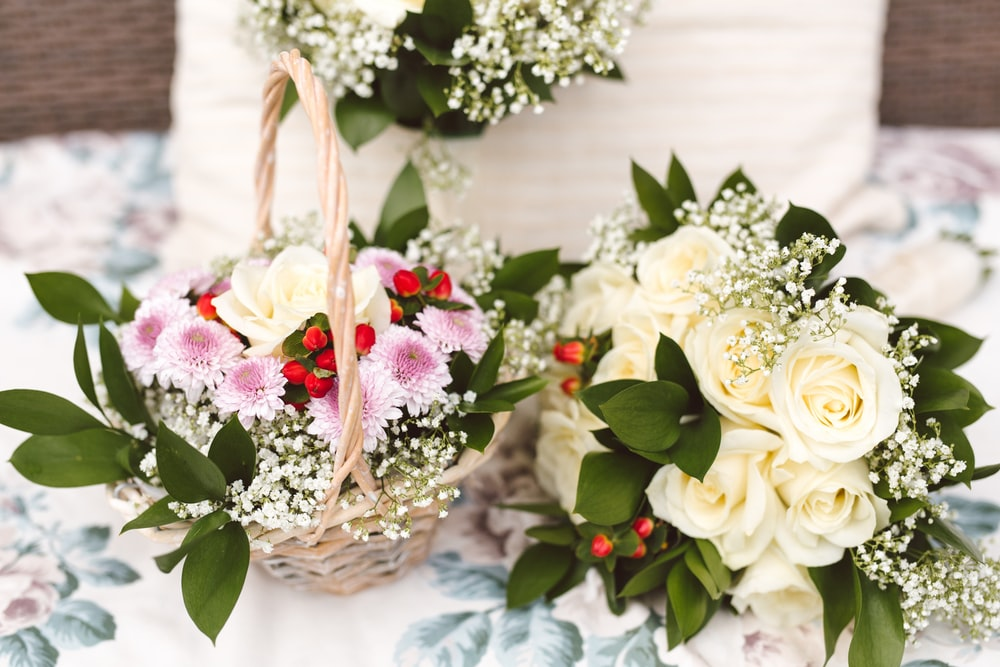 bouquet of flowers with baskets