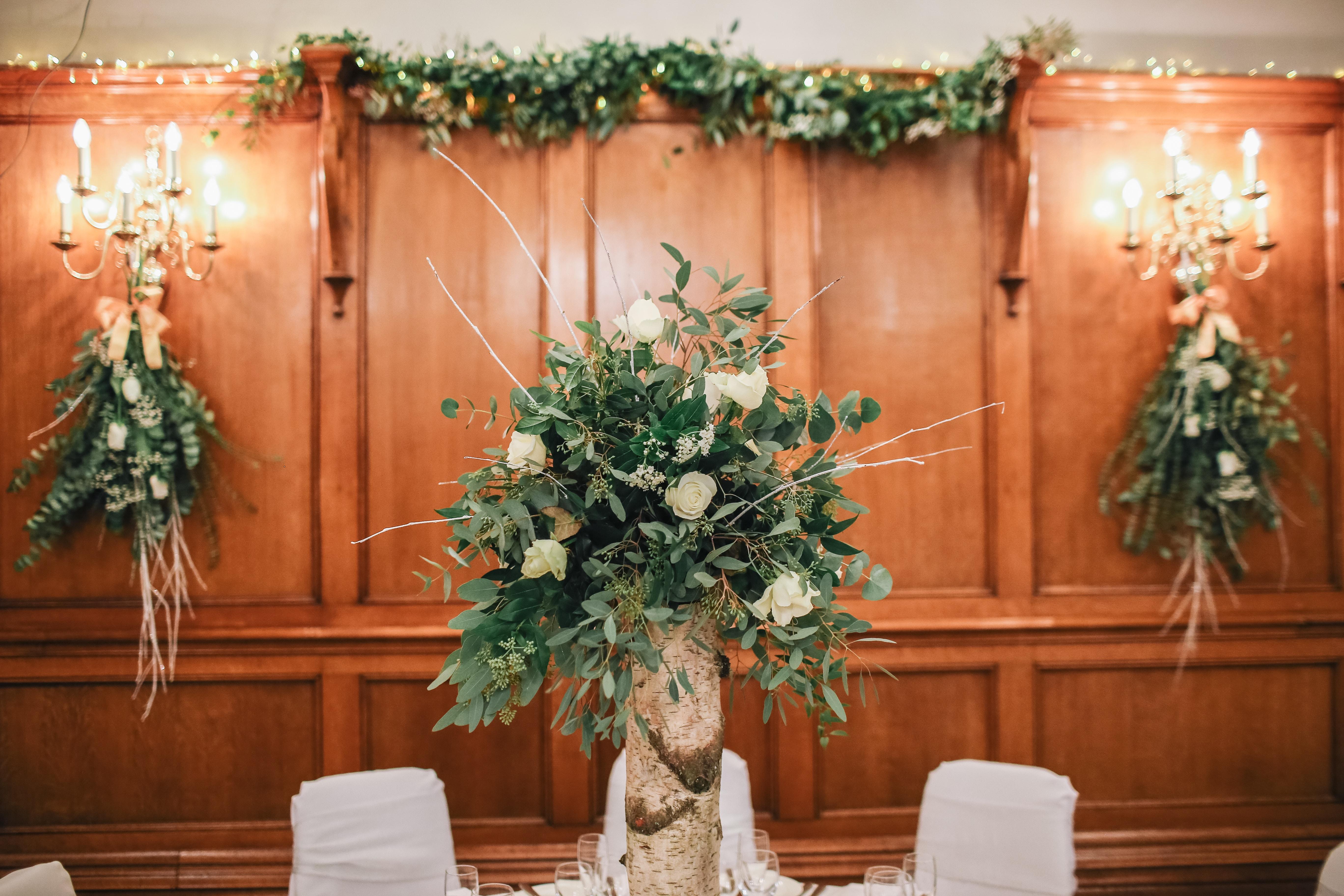 white flower arrangement on table
