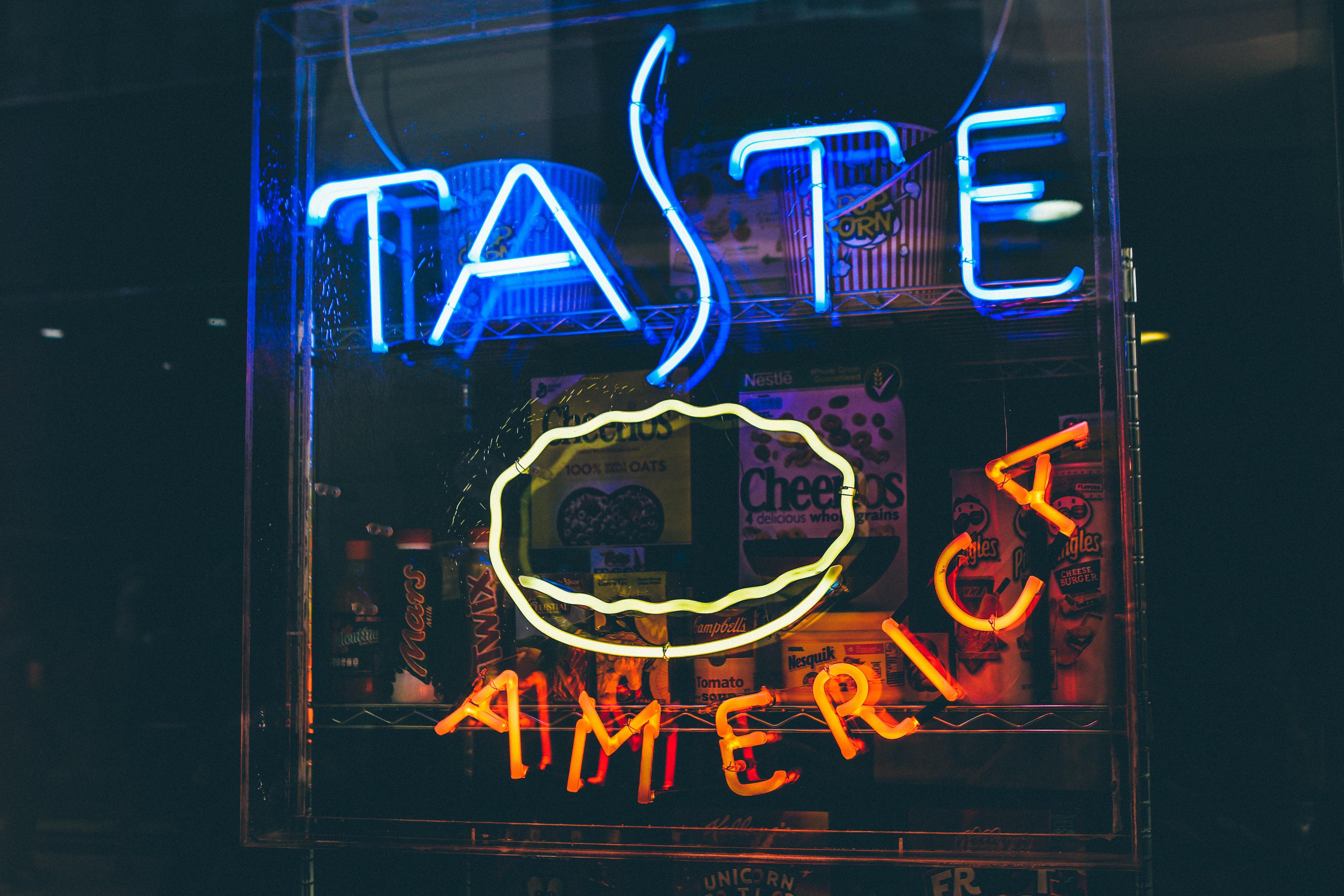 Taste America neon light signage