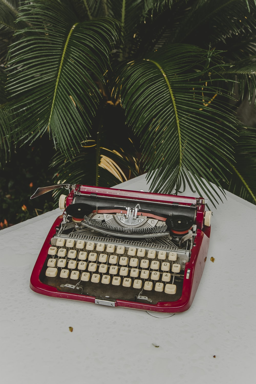 red and gray typewriter