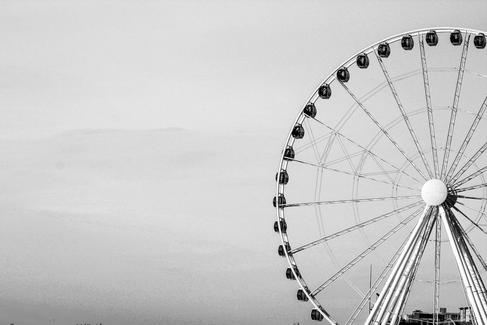 grayscale photography of London Eye