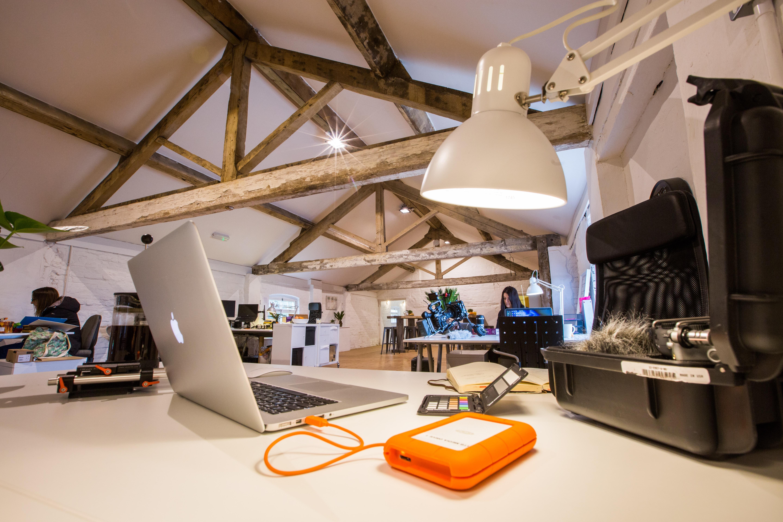 white study lamp near MacBook Air
