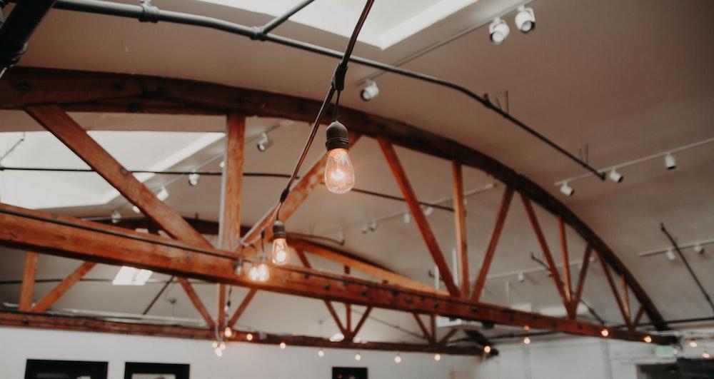turned-on lights inside building