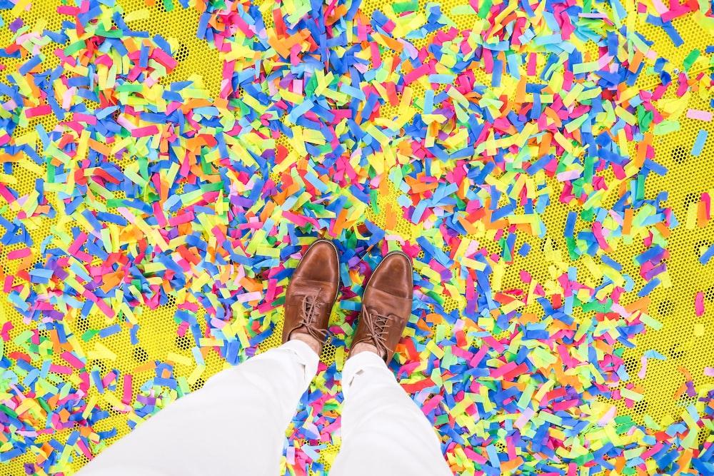 person standing on confetti