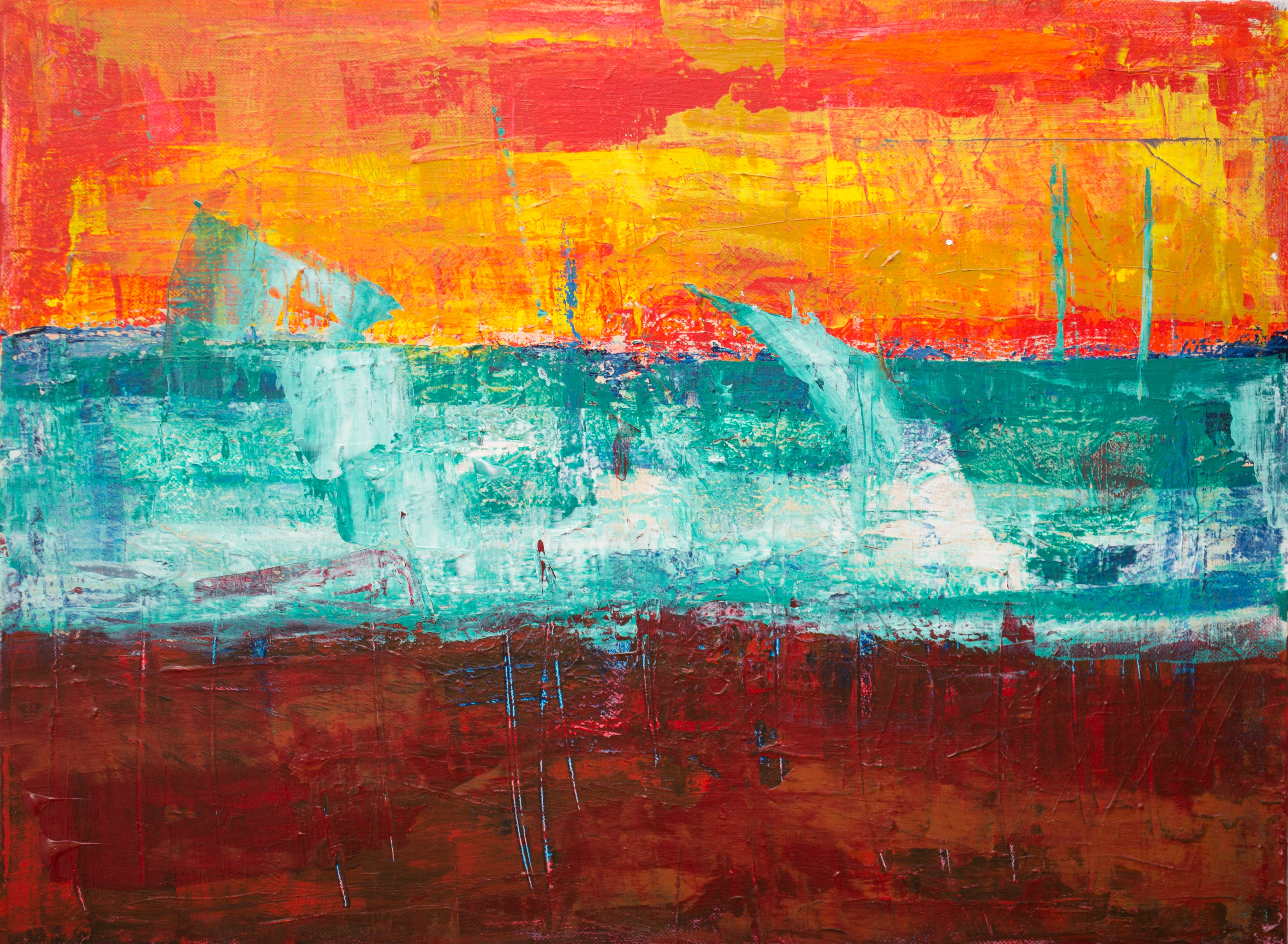 teal, orange, and red abstract painting