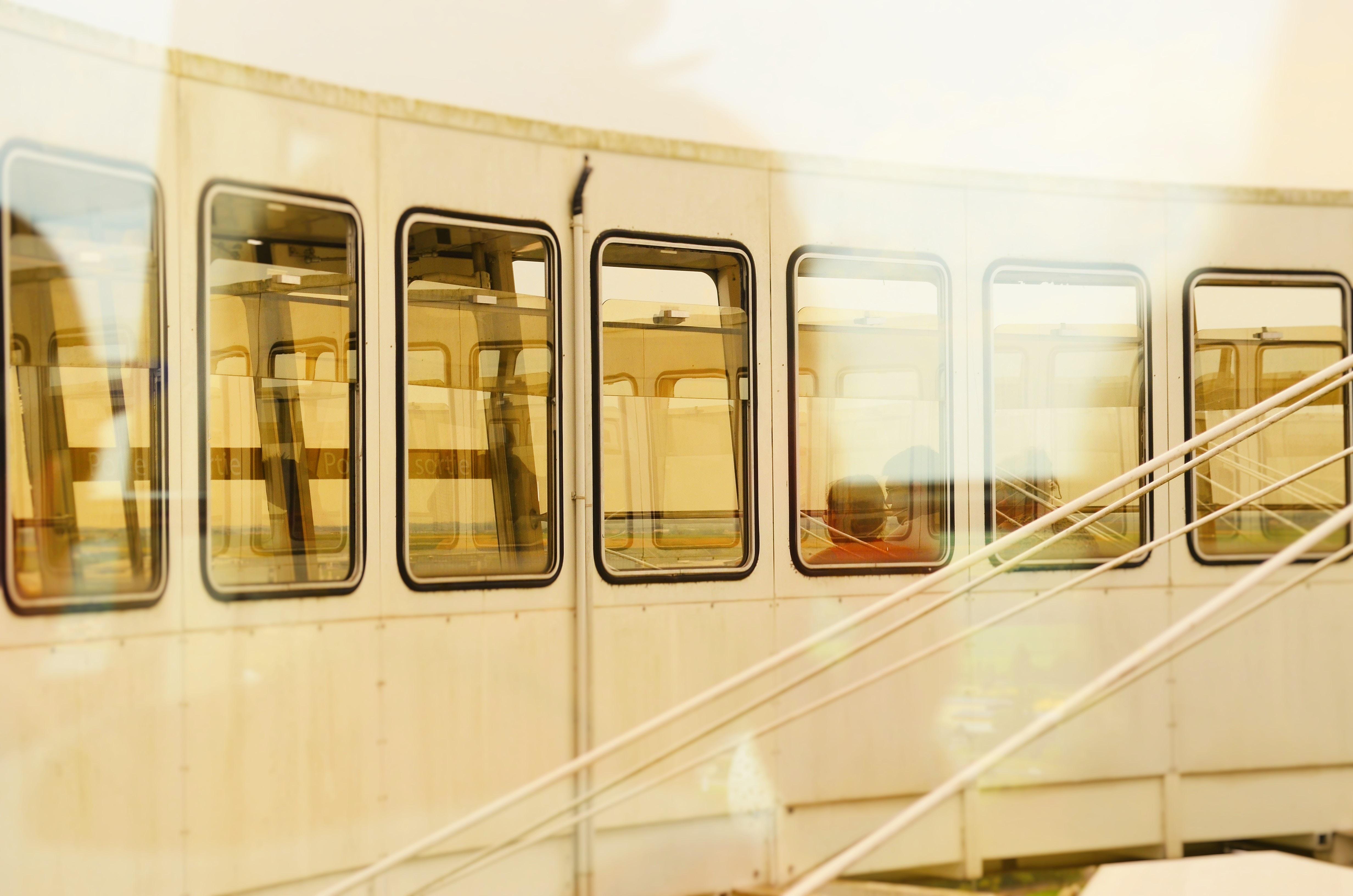 closeup photo of white train