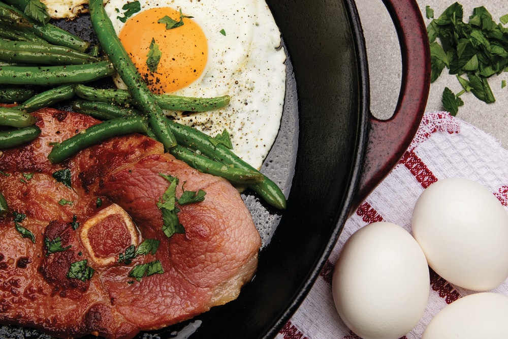 meat, beans, and egg dish