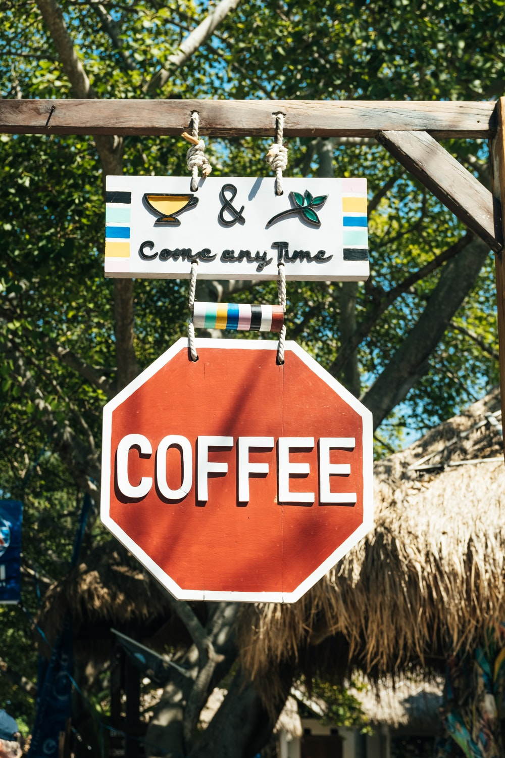 red and white coffee signage
