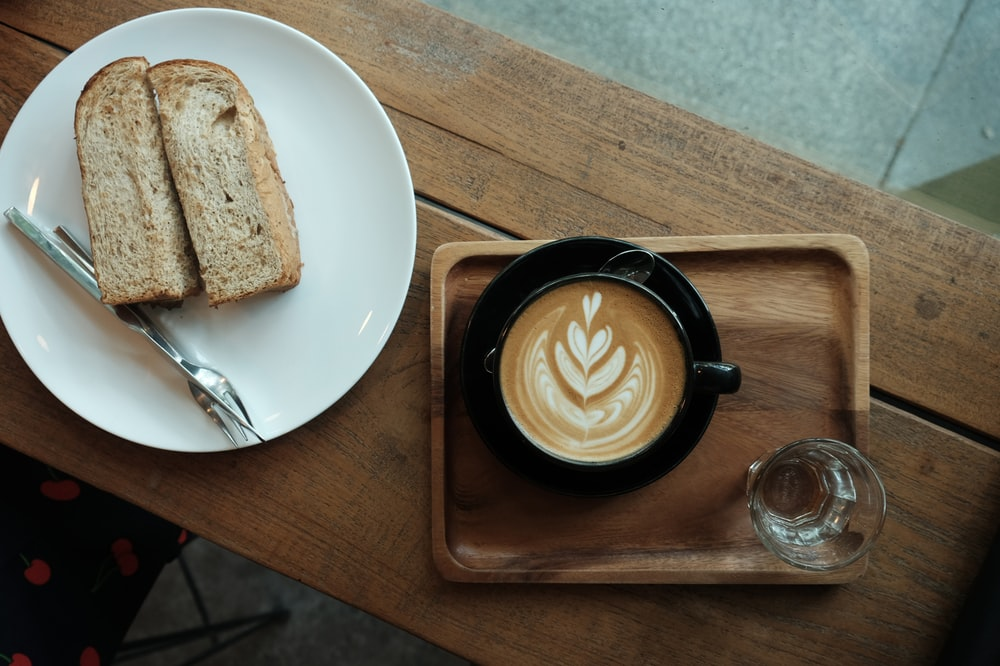 croissant bread with cappuccino coffee