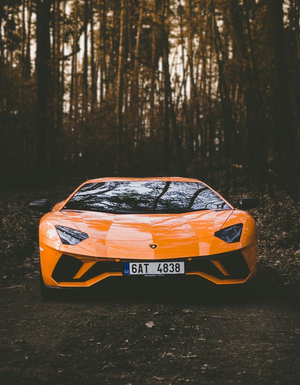 orange Lamborghini car
