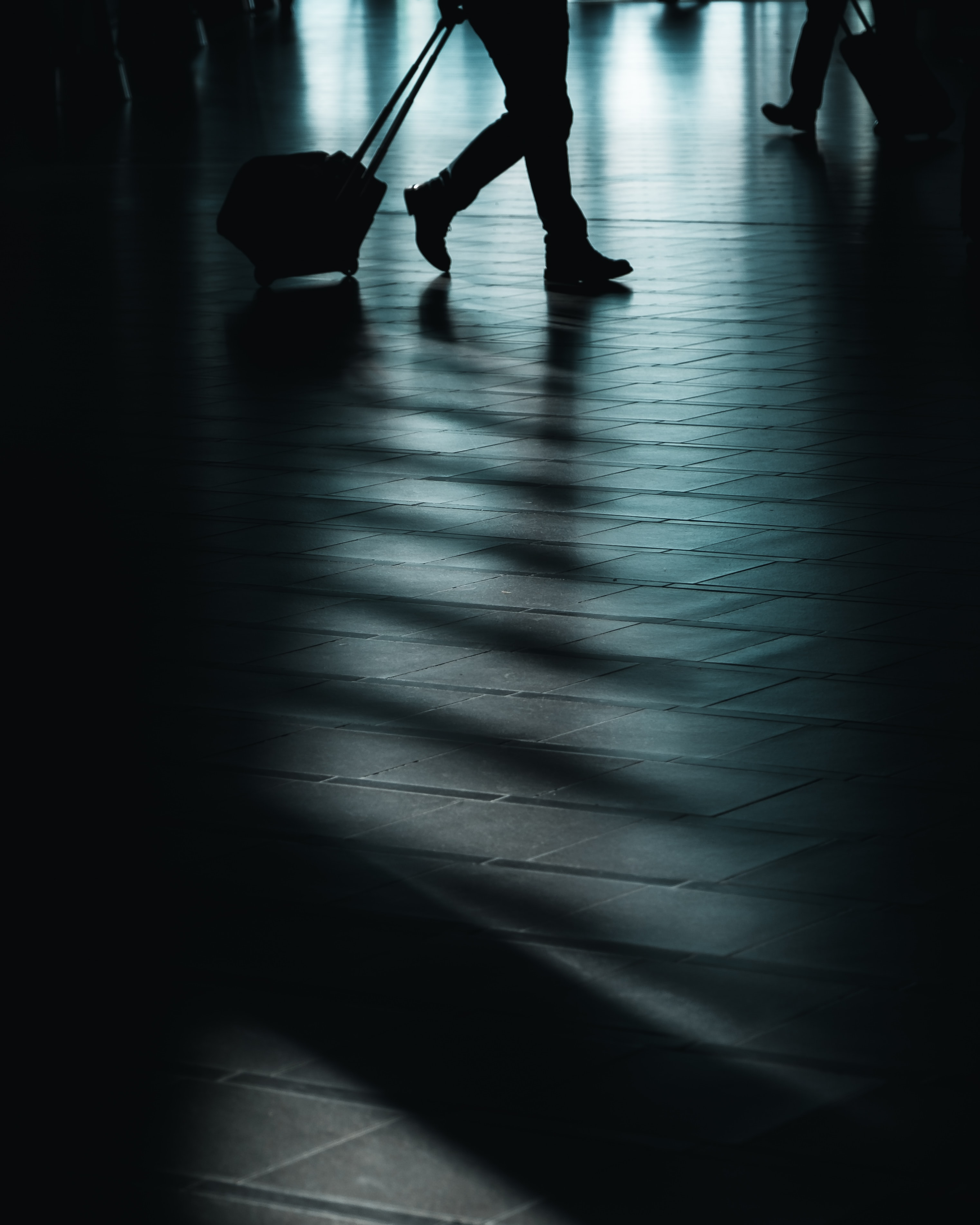 silhouette of man walking with luggage