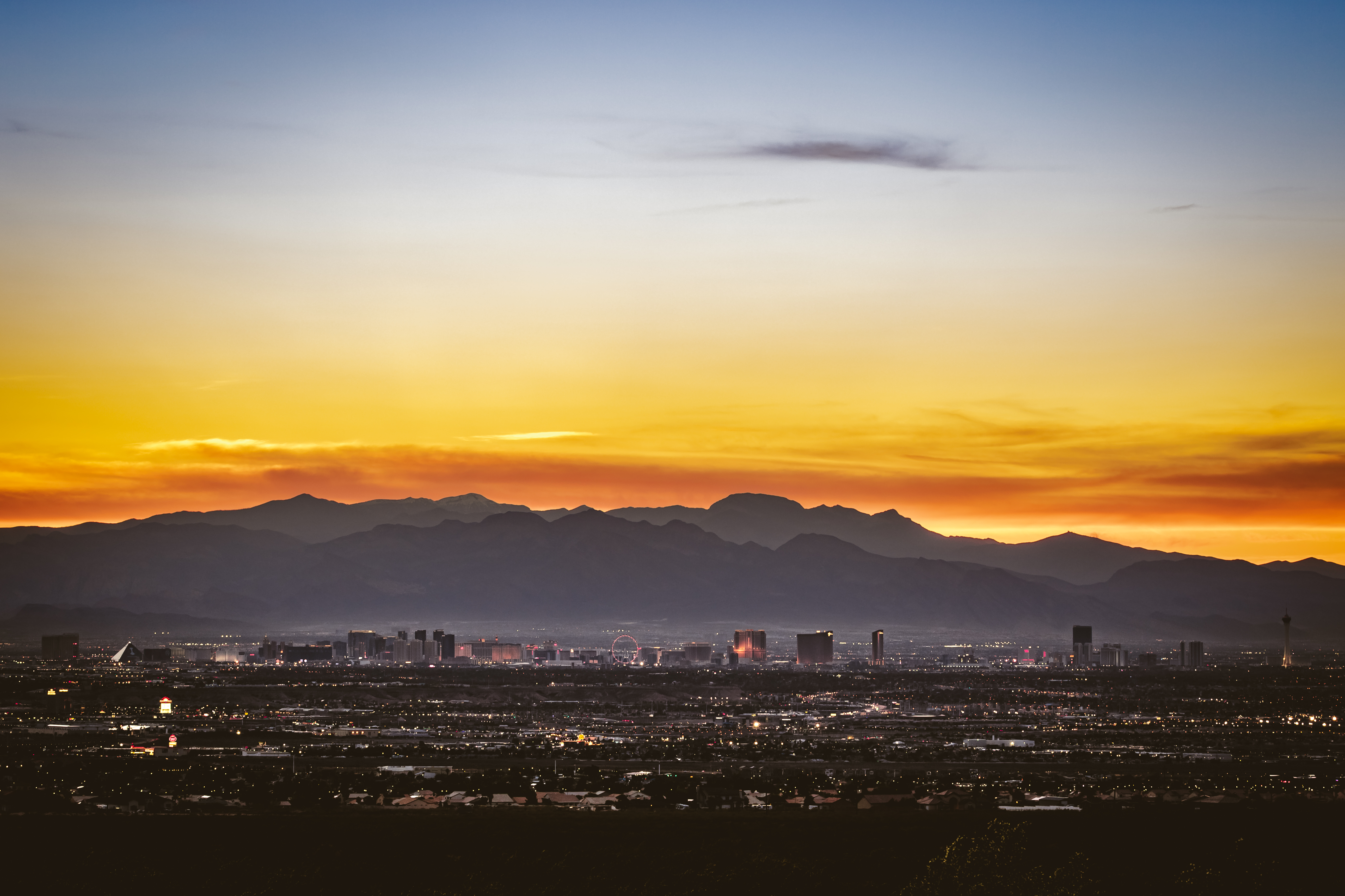 A sunset shot of the Las Vegas Strip taken from a quiet trail on the Southeast side of the valley