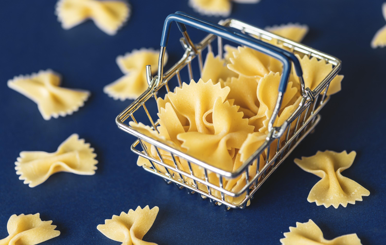 pasta on metal basket