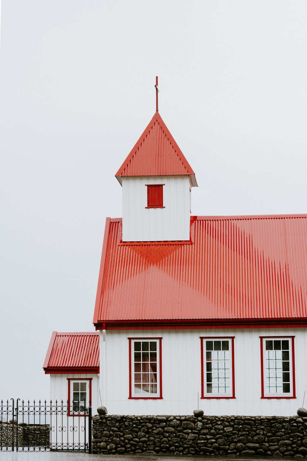 white and red 2-storey house