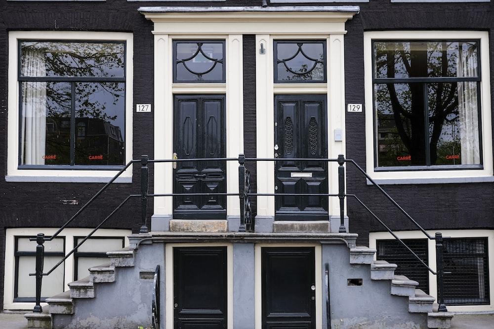 white and black concrete house