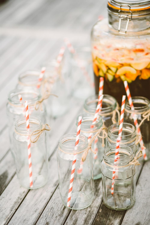 clear glass mason jars with straws
