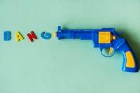 children's blue and yellow plastic gun