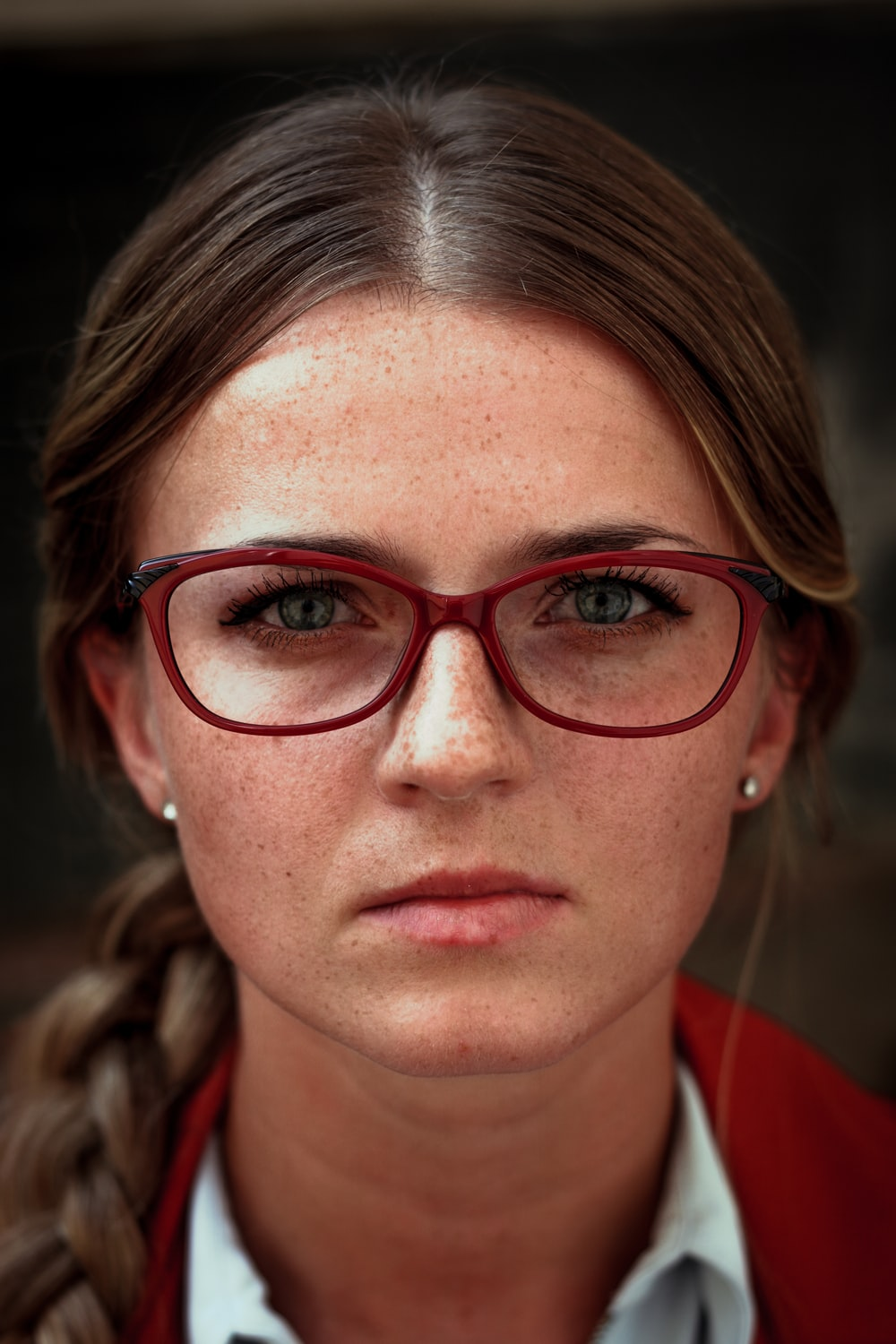 Woman Wearing Eyeglasses With Red Frames Photo Free Glasses Image On Unsplash
