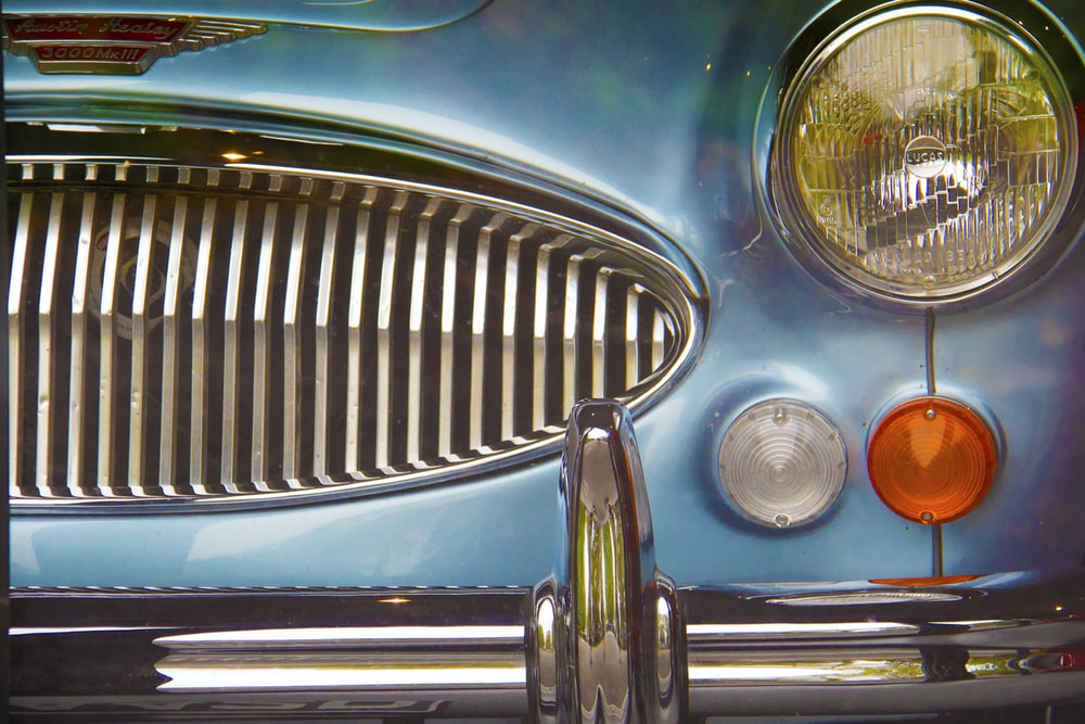 blue car showing grille