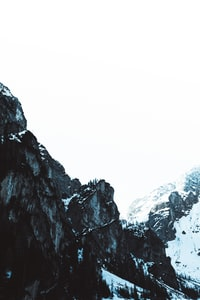 high-angle photography of rock mountains during winter