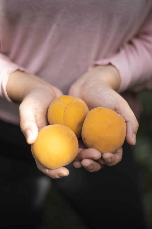person holding three round orange fruits