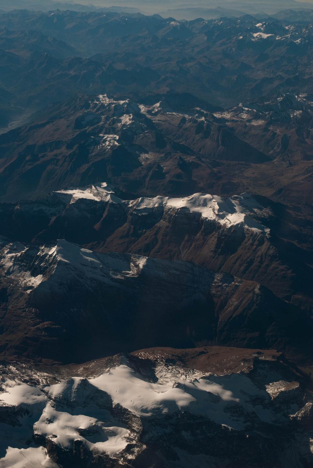 high angle photo of rock mountain