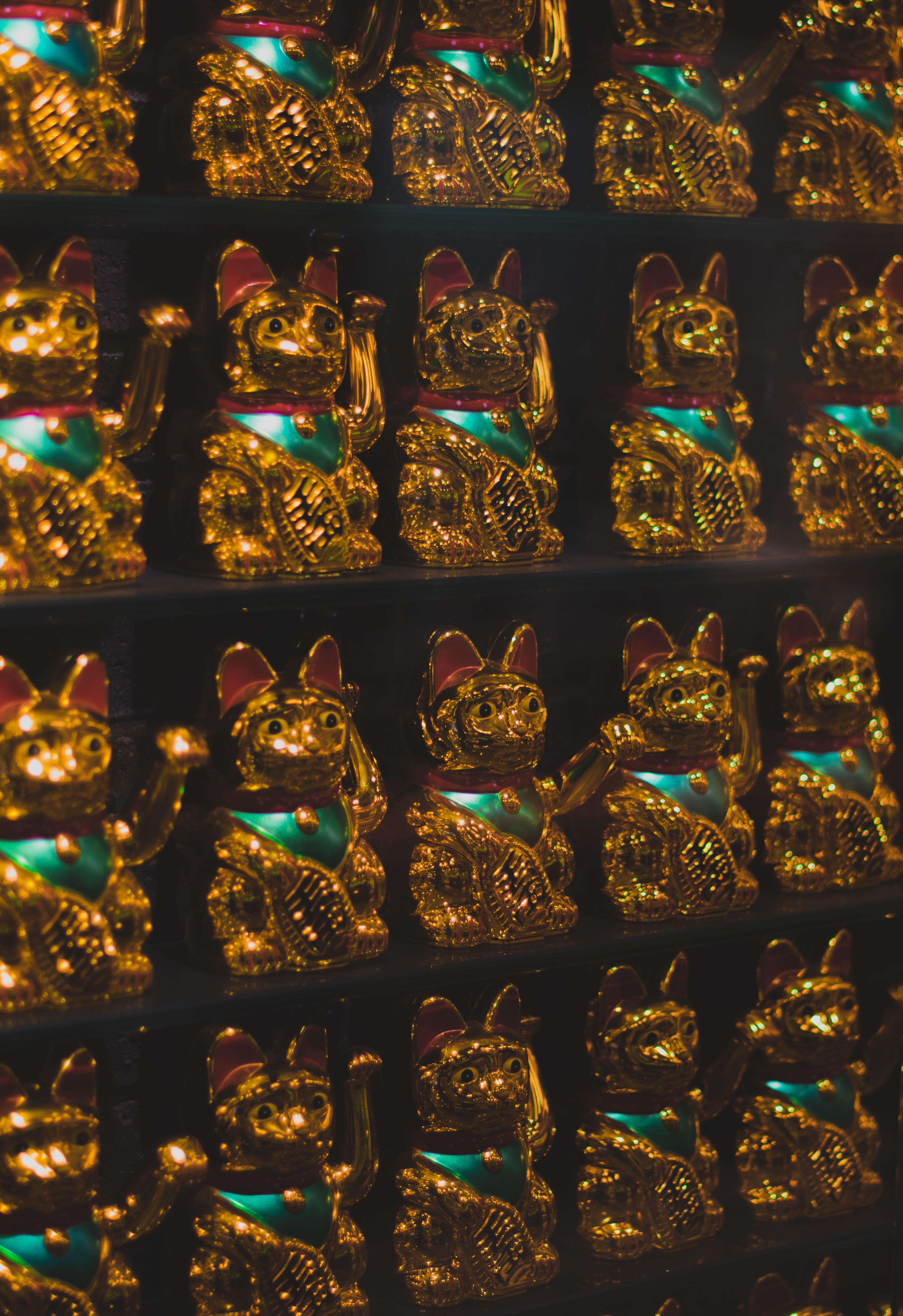 display of gold lucky cat figurines