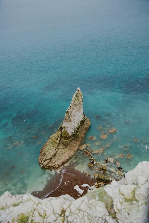 aerial photo of white stone