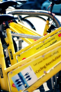 close up photography og yellow bicycles