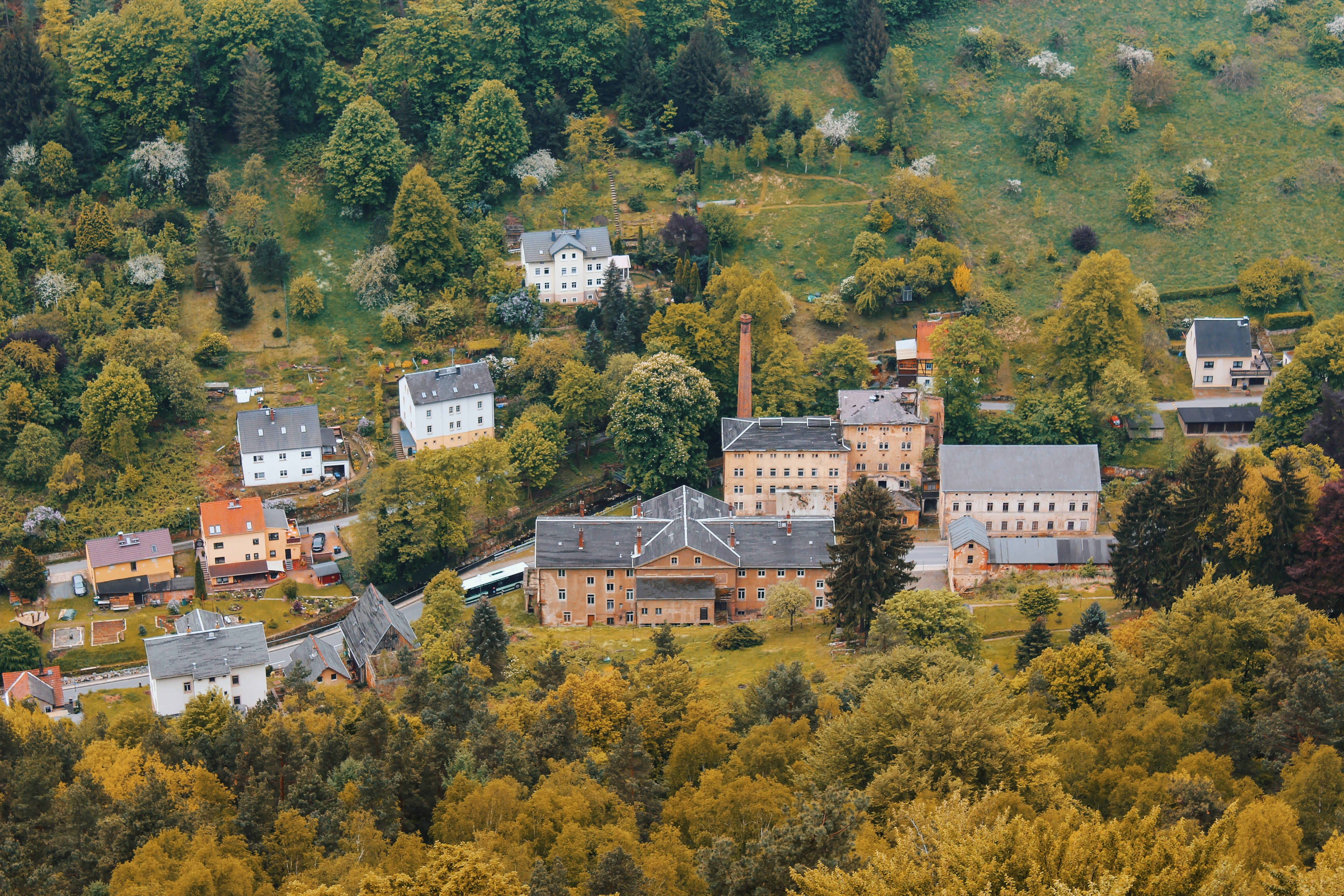 aerial photograph of village near trees