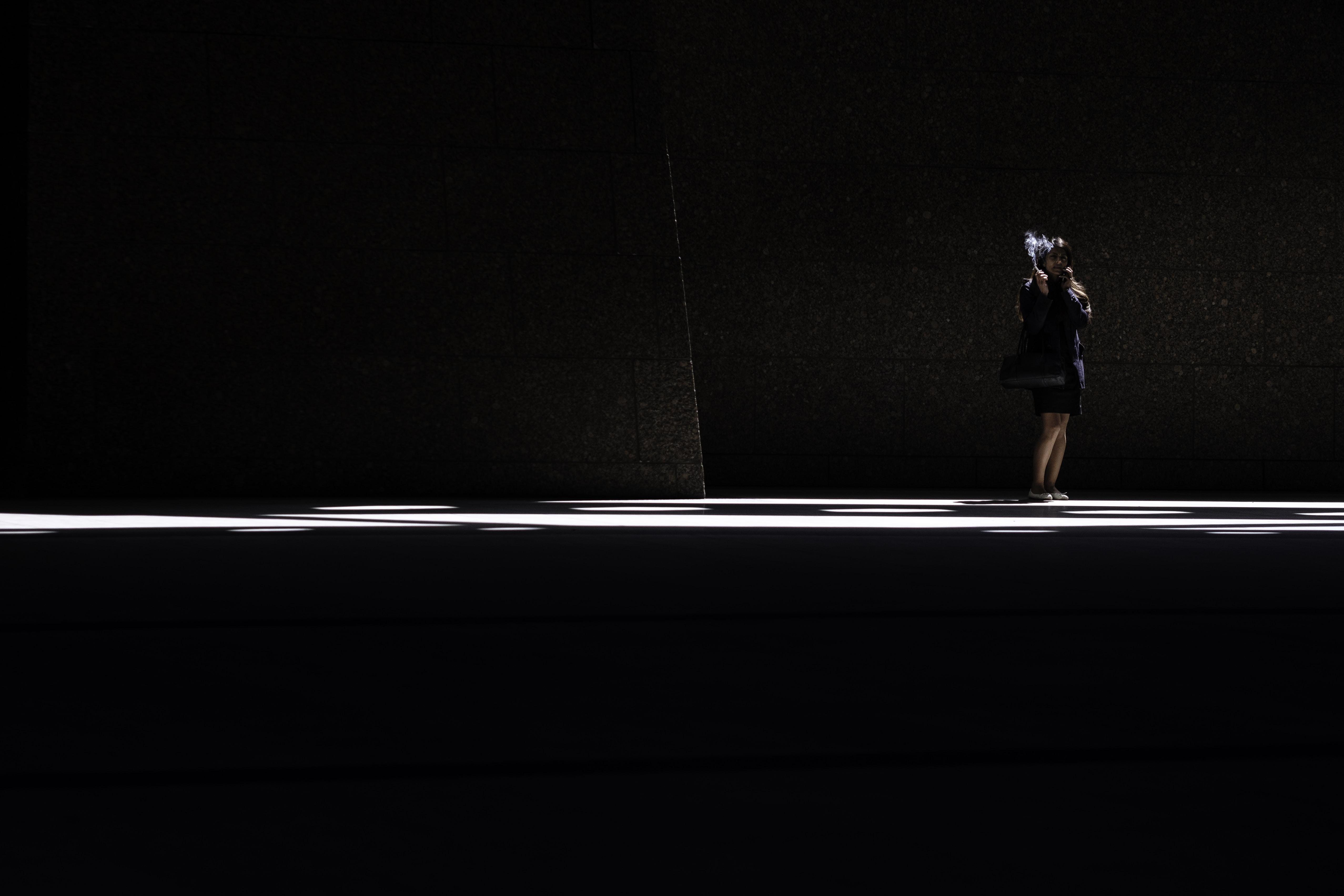 woman wearing black skirt