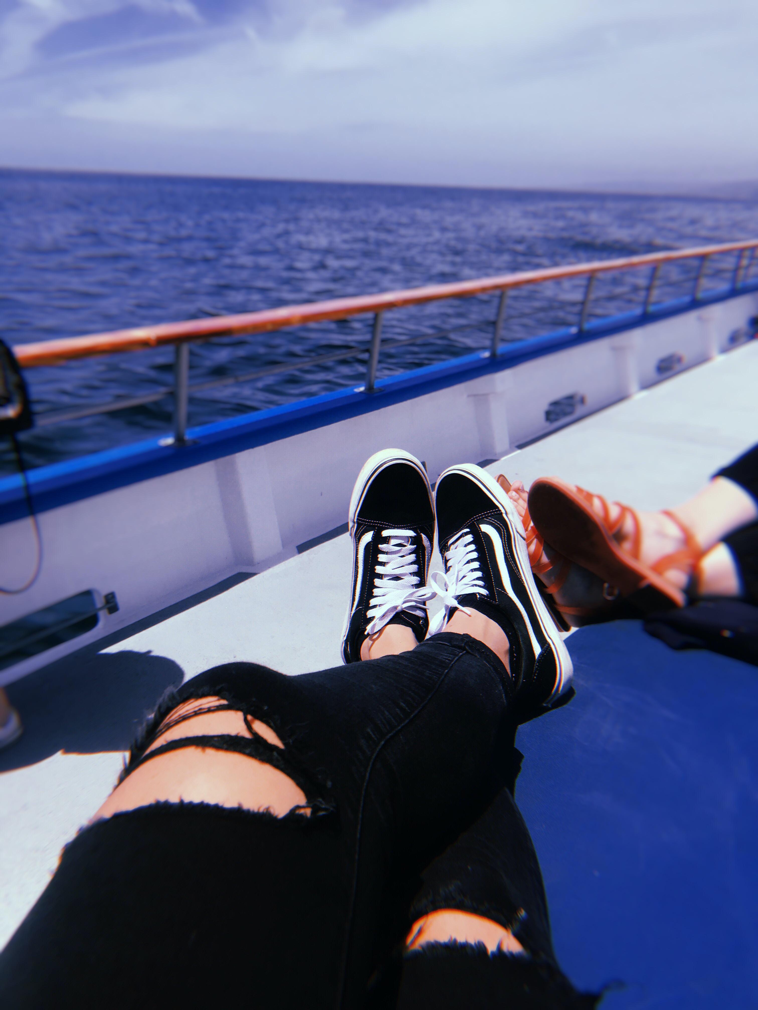 pair of black-and-white Vans Old Skool sneakers