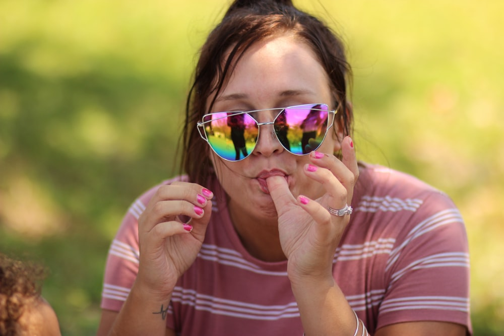 woman's sucking her thumb