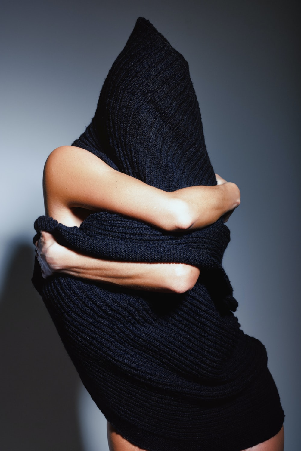 person covering body