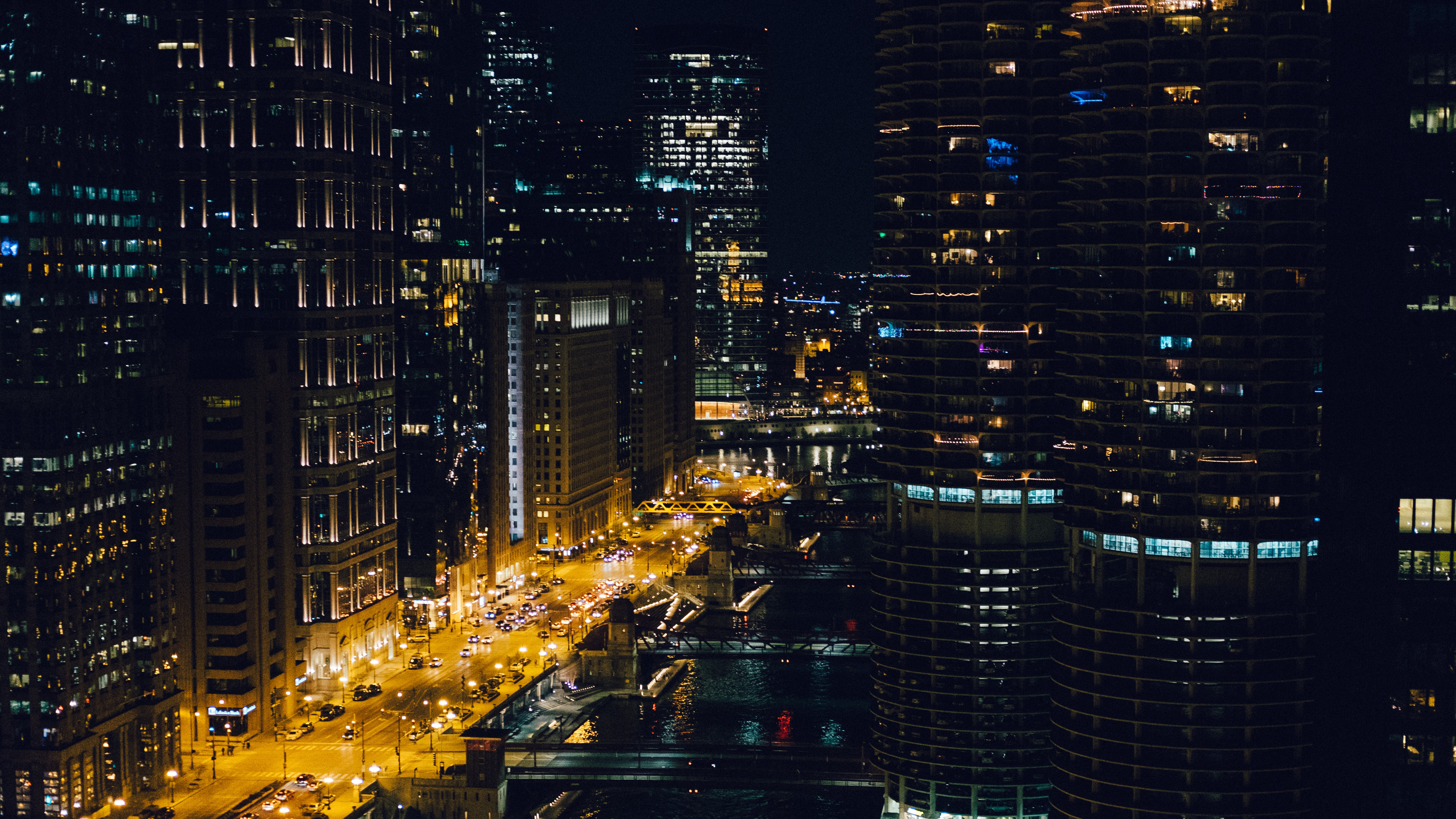structural shot of buildings during nighttime