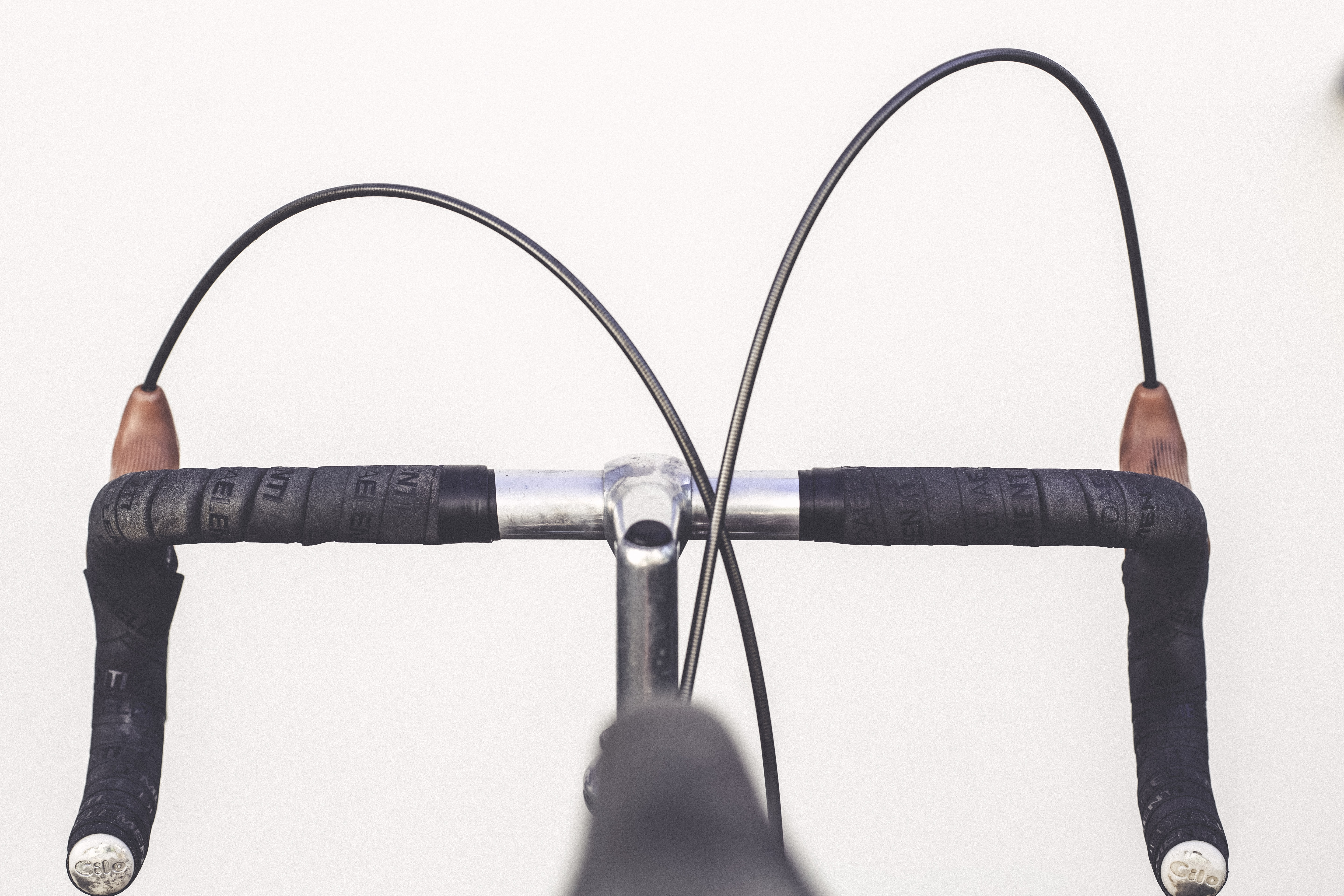 closeup photo of road bike handlebar