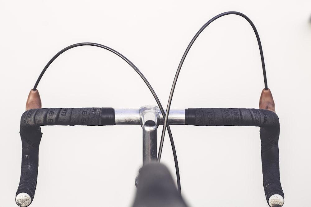 closeup photo of road bike handlebar