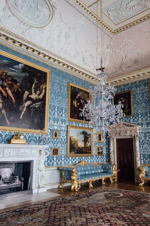 glass chandelier near wall