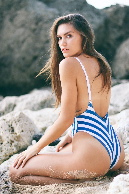 woman in monokini on sands