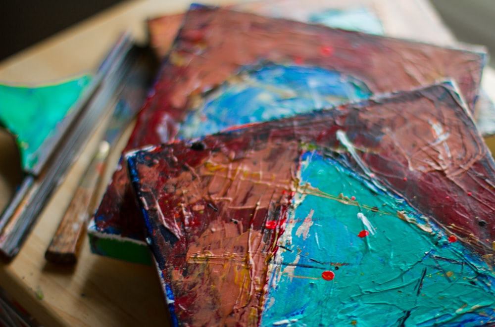 blue red and white abstract painting