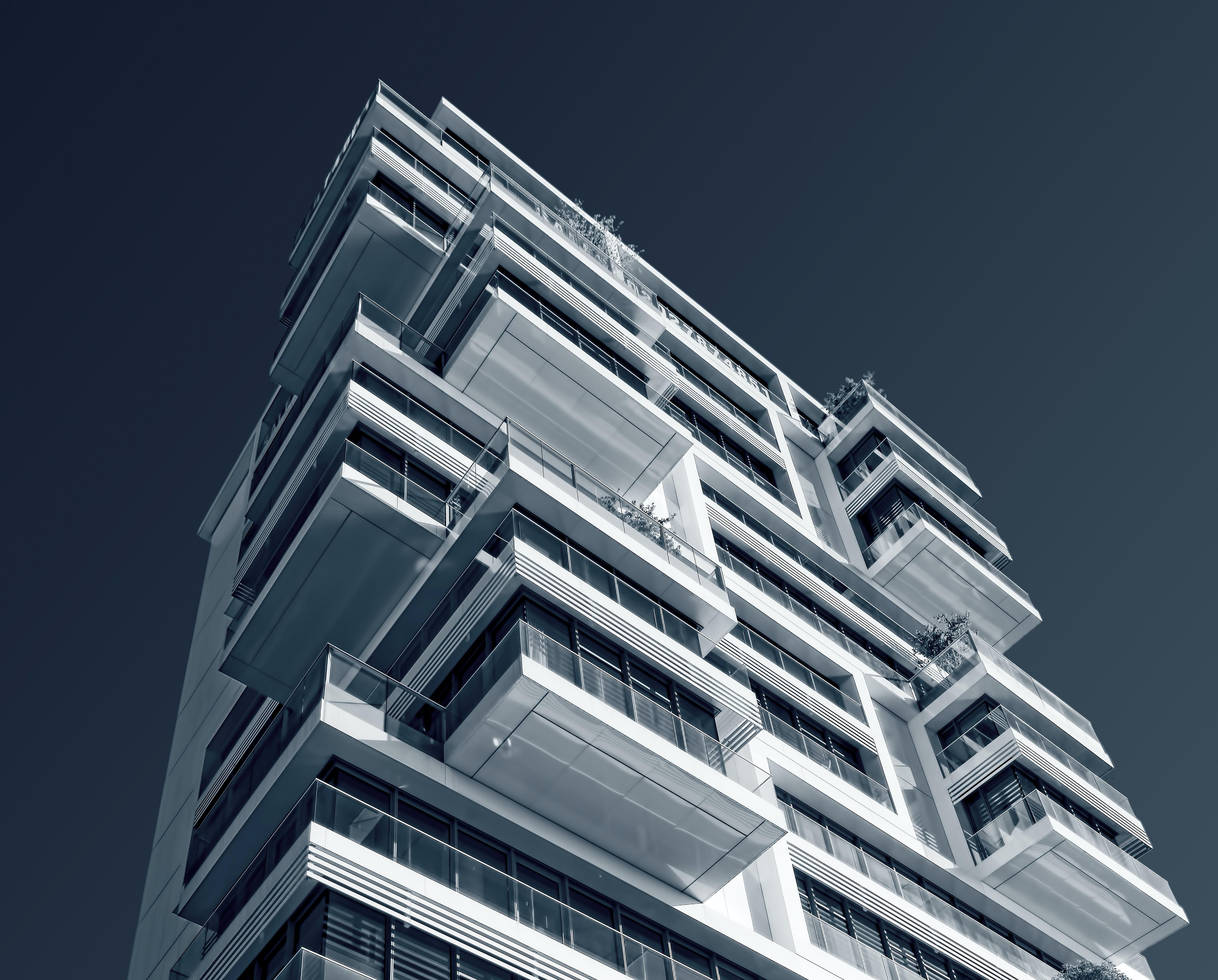 low angle photography of condominium