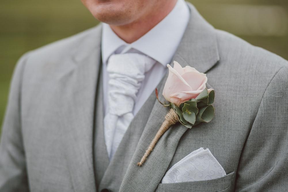 man wearing gray blazer
