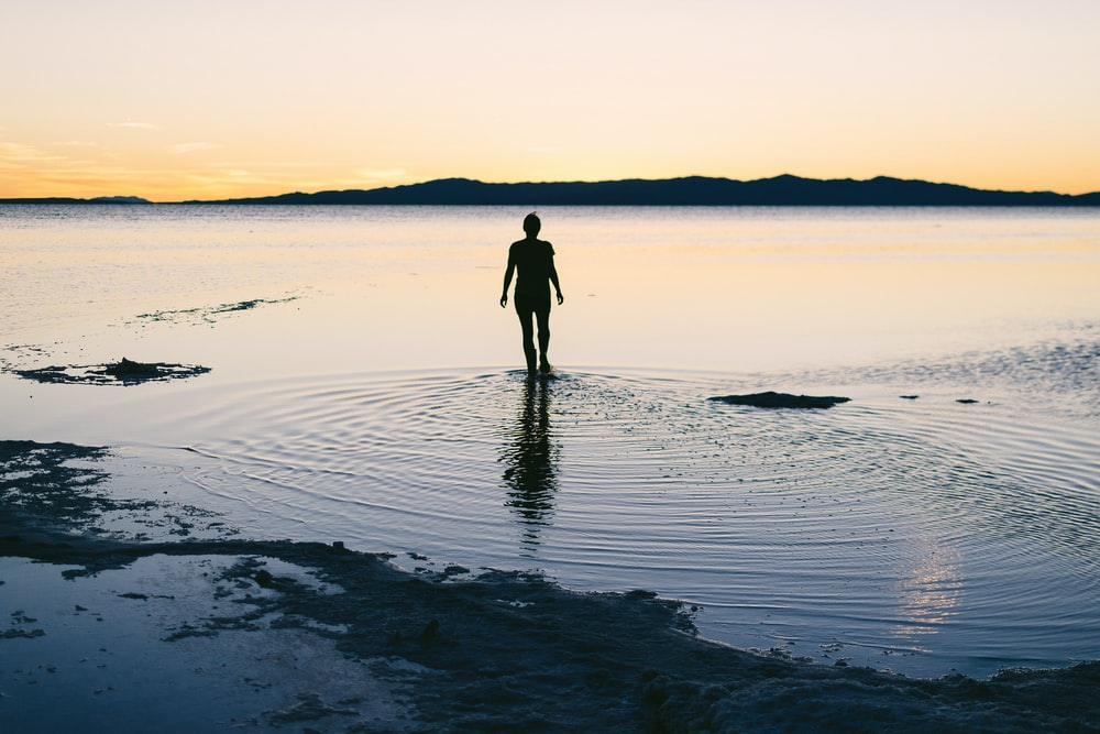 silhouette of person standing on body of water